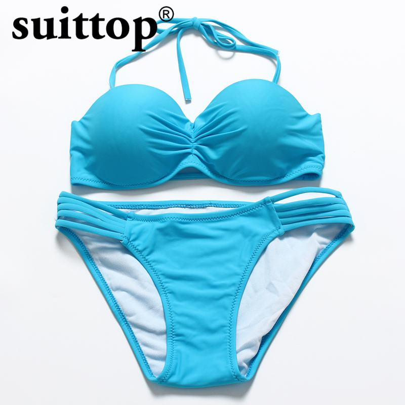 suittop Bikini 2017 Summer Sexy Maillot De Bain Push Up New Swimwear Halter Solid Women Swimsuit Multi Color Bikini Set fb005 free shipping new classic swimsuit women s multi color bikini brand push up halter neck fashionable styles swimwear thicken cup