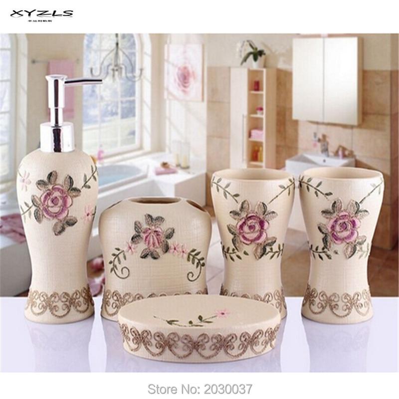 XYZLS 5 pièces/ensemble résine créative salle de bains accessoires ensemble main Sopa plat distributeur gobelet porte-brosse à dents salle de bains maison décorer