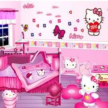 hello kitty niños habitación pared arte nuevo coche dormitorio pegatina conjunto hogar Decoración DIY