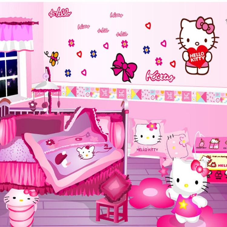 Happy Cartoon Hello Kitty Kids Girl Room Wall Art New Car