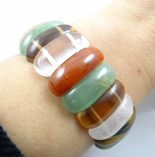Natural Multicolor Stone Bracelet Energy Bangles Stretch Chain Natural Stone Inradius Chunky Bracelets Jewelry P24