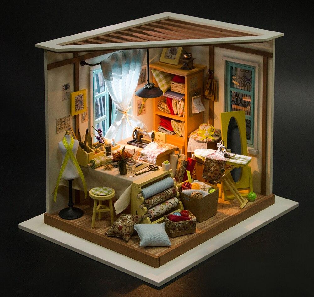 Robotime DIY Doll House Lisas Skräddare Barn Vuxen Miniatyr Trä - Dockor och tillbehör - Foto 3