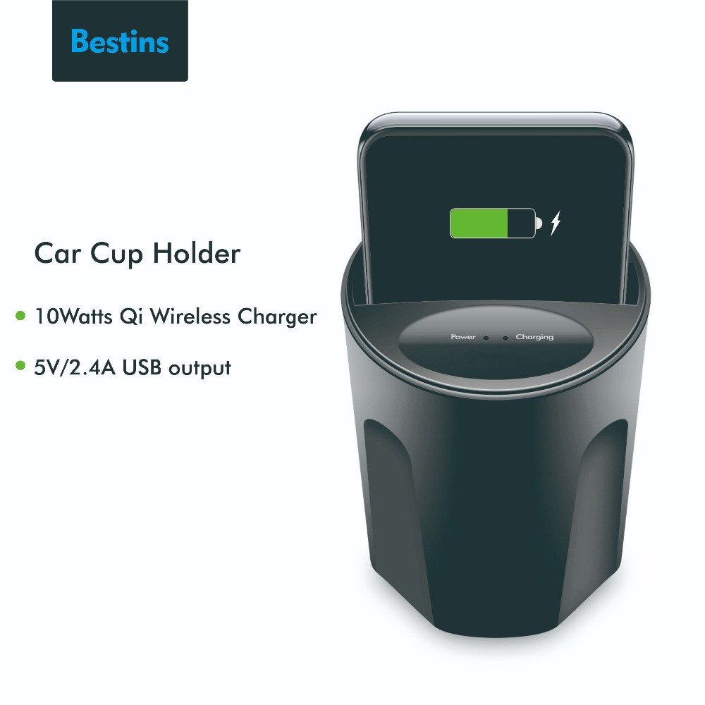 Bestins Qi Car Wireless Charger Cup Holder Stand Charging For iPhone 8 X XR Samsung Xiaomi
