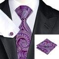 SN-1493 Novo Chegando Paisley Laços Do Pescoço Oi-Tie Design de Moda Roxo Tie Hanky Abotoaduras Set para Casamento Dos Homens de Negócios partido