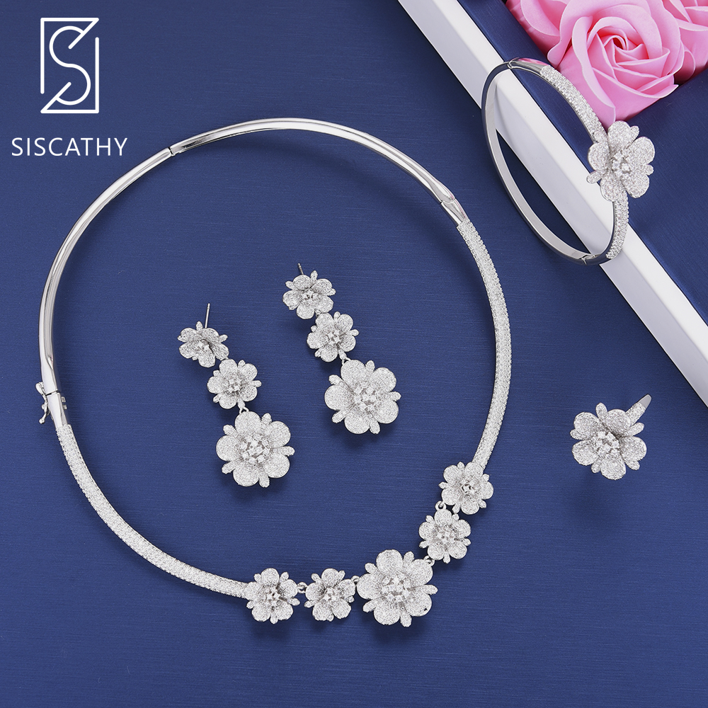 SISCATHY Luxury Flower Cubic Zirconia Wedding Necklace Dangle Earrings Bracelet Ring Jewelry Set boucle d'oreille sweet berry go and celebrate happy team