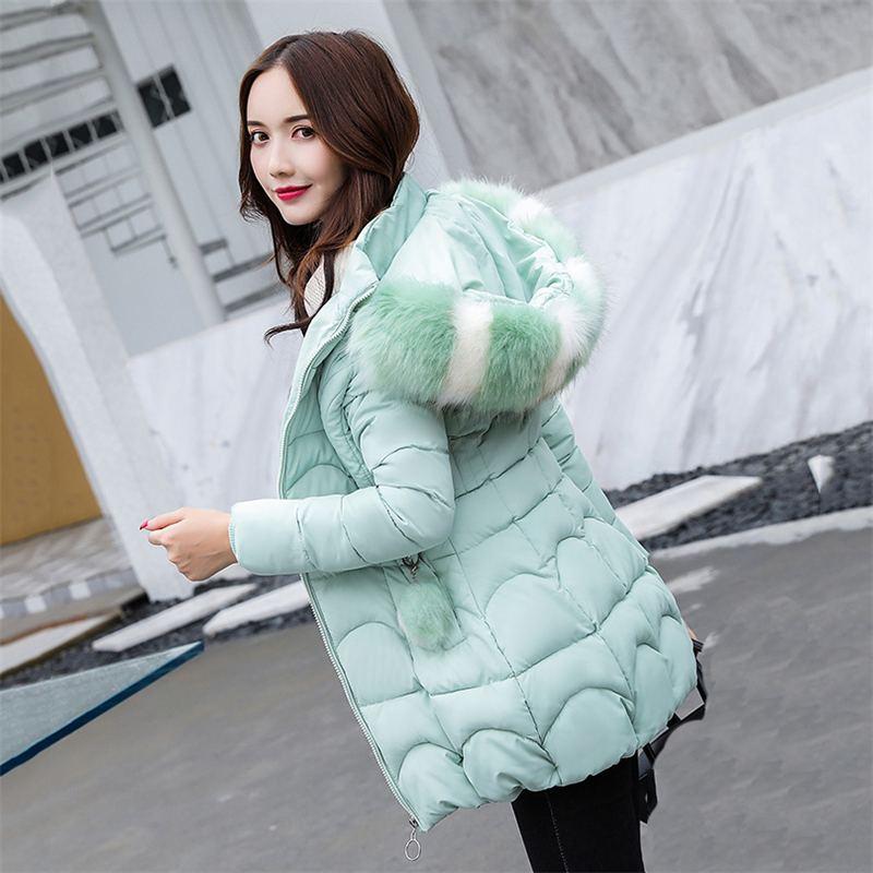 Le De Capuchon 2018 vert bleu 3xl Nouveau Hiver La Noir Coton Chaud rose Survêtement Manteau Vers Rembourré Fourrure Col Vestes Mince Bas Taille Femelle Faux Femmes Parkas À C87 Plus 5X8qq6w