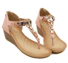 Size 4~10 Pink Casual Sandals Women Shoes Beading Wedges Summer Women Flats Shoes sandalias mujer (Check Foot Length)