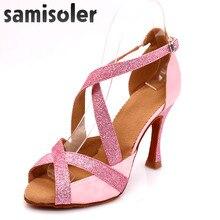 Samisoler ピンク 2019 新ラテンダンスシューズ女性社交ラテンダンスシューズラインストーン社交靴 latce 靴