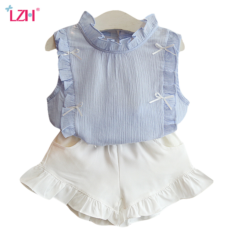 LZH Children Clothing 2018 Summer Baby Girls Clothes T-shirt+Shorts ... cc8cbc73c