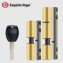Door Lock Cylinder 70mm Cylinder Same Key Open All Locy Anti Prying Break Steel Bar Brass Serpentine Groove Key