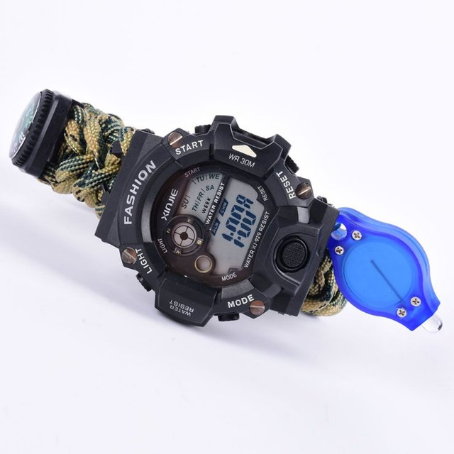 Waterproof Paracord Watch Survival Bracelet Travel Climbing Camping With Compass Flint Whistle