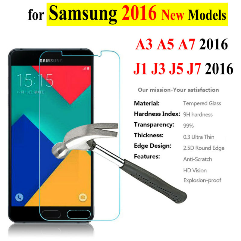on sale!new design 0.26mm Tempered Glass For Samsung Galaxy A3 A5 A7 J3 J5 J7 2015 2016 NOTE 2 3 4 5 Screen Protector Film