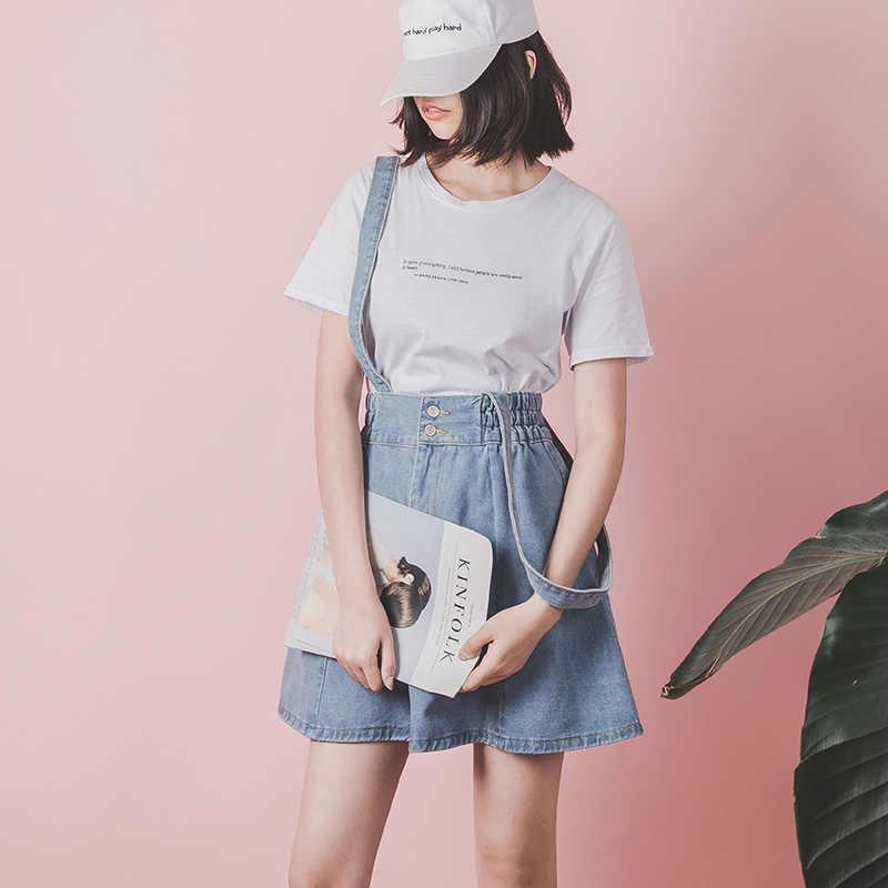 e6e763f3154a1 2019 Korean Summer Vintage Sweet Preppy Style Skirt Women Jeans Blue  Suspender Skirt Blue Casual Denim Straps Overall Mini Skirt