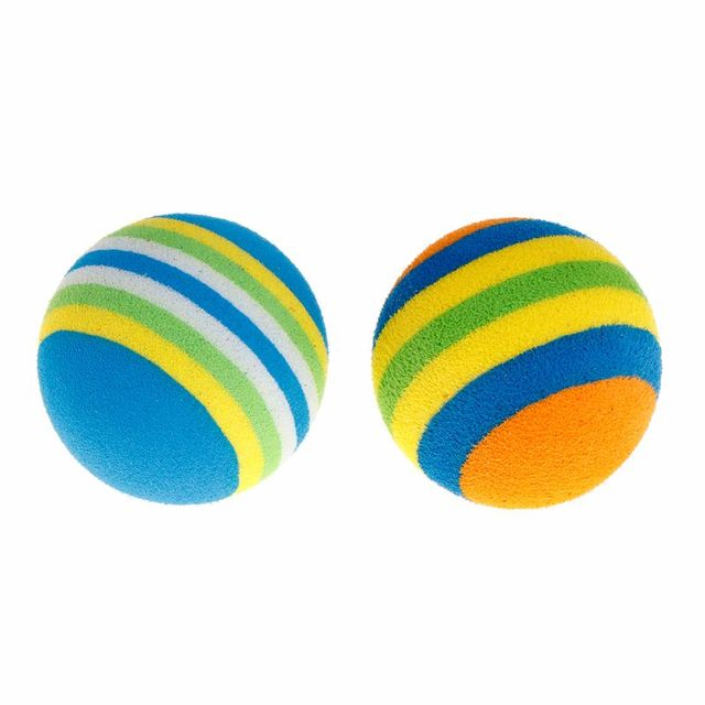 10 Pcs/Set Rainbow Ball Pet Toys EVA Soft Interactive Cat Dog Puppy Kitten Play Funny Colorful Gifts Chew Balls Pets Products 3