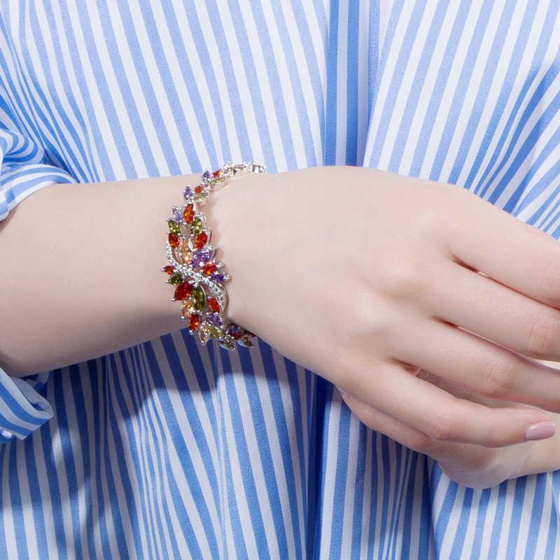 BeaQueen srebro 925 lato śliczny kryształ biżuteria duży kwiat klastra kolorowe CZ kamień bransoletka dla kobiet B055
