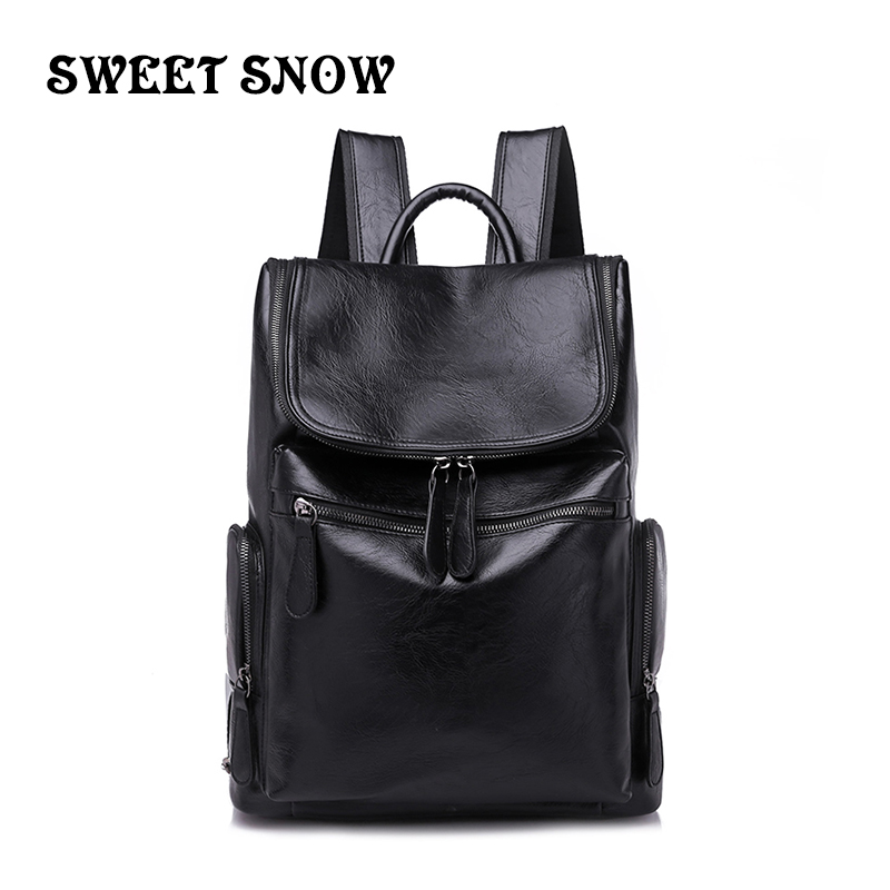 Doux neige en cuir souple hommes sacs à dos mode sauvage tendance voyage sac à dos grande capacité sport sac à dos pour hommes cahier Backpa