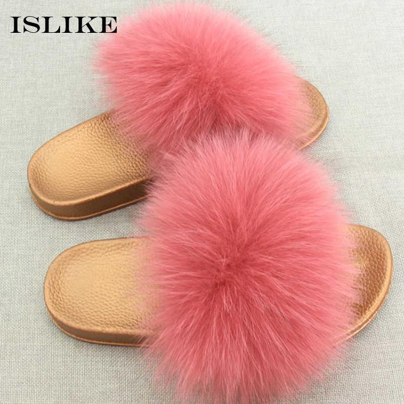 59178bc70 ... New Summer Women Fur Slippers Fluffy Really Fox Hair Flip Flop Bling  Slides Golden PVC Non ...