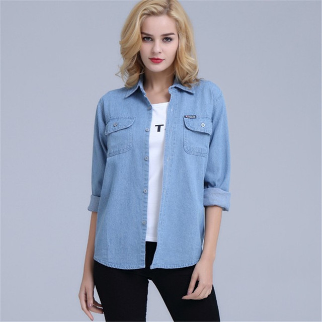 Plus Size Denim Shirt Women Thin Summer Pockets Casual Long Sleeve Jeans Blouse Button Solid Cotton Blusa Bluzki Damskie Ds50601 4