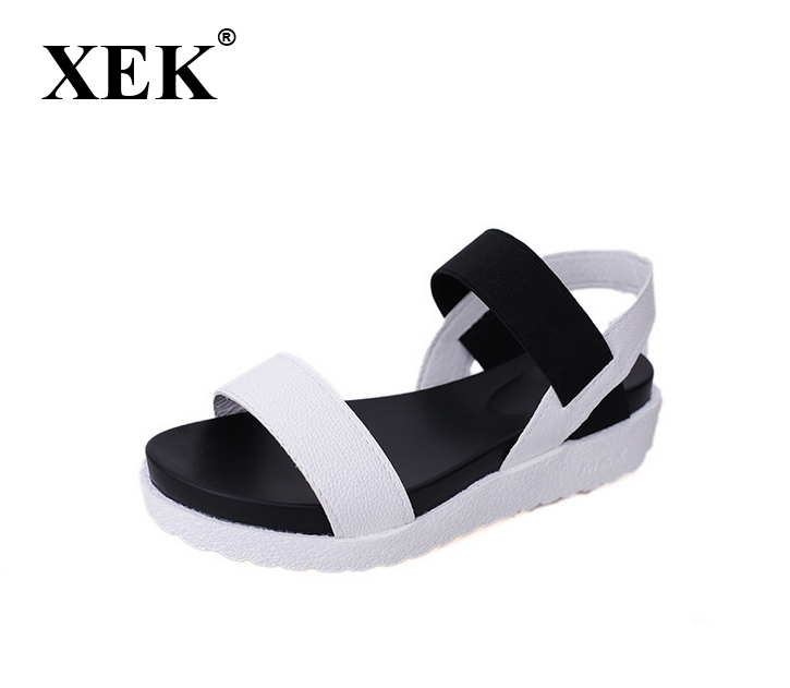 XEK 2018 New Gladiator Women Shoes Roman Sandals Women Sandals Peep-toe Flat Summer Shoes Woman Sandalias Mujer Sandalias WFQ08 beanding embellished summer gladiator sandals pearl suede peep toe cutouts back zip high heels sandalias mujer women shoes woman