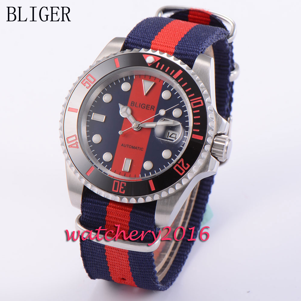 40mm Bliger sapphire glass blue & red dial date adjust luminous markers automatic movement Mens Mechanical Wristwatches40mm Bliger sapphire glass blue & red dial date adjust luminous markers automatic movement Mens Mechanical Wristwatches