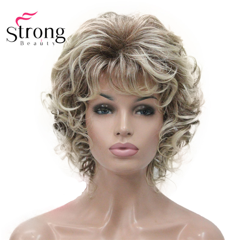Peluca corta StrongBeauty suave rizos rubios realza pelucas sintéticas completas opciones de color