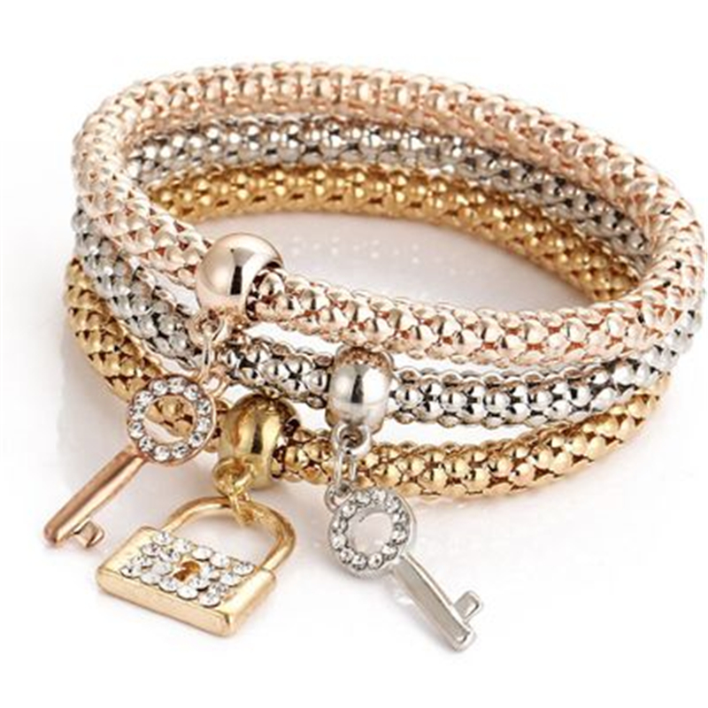 100pcs/lot Hot Selling New Alloy Tricolor Bracelet Set Stretch Popcorn Corn Chain Bracelet Pendant Bracelet
