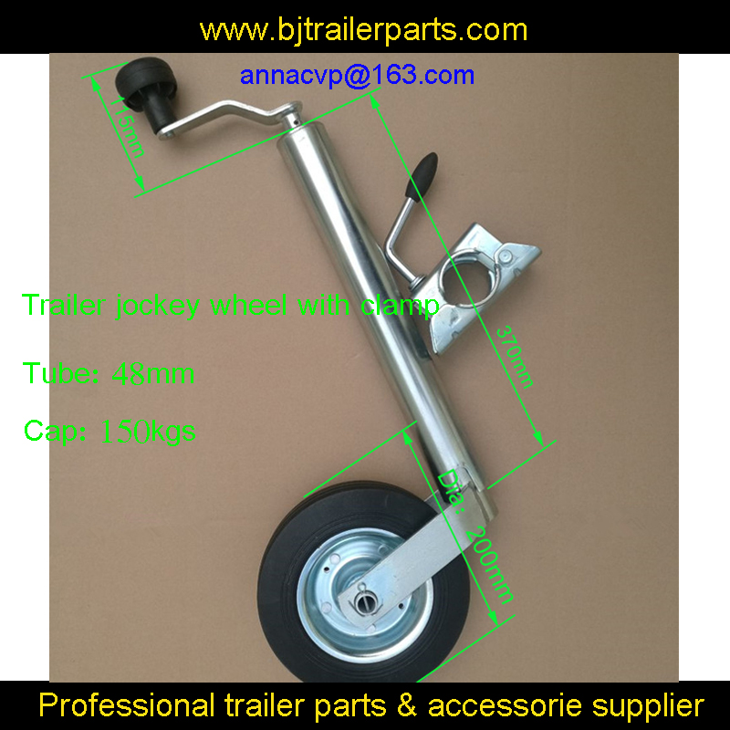 High quality trialer jack, trailer jockey wheel, trailer stand with clamp top wind,48mm tube, trailer parts