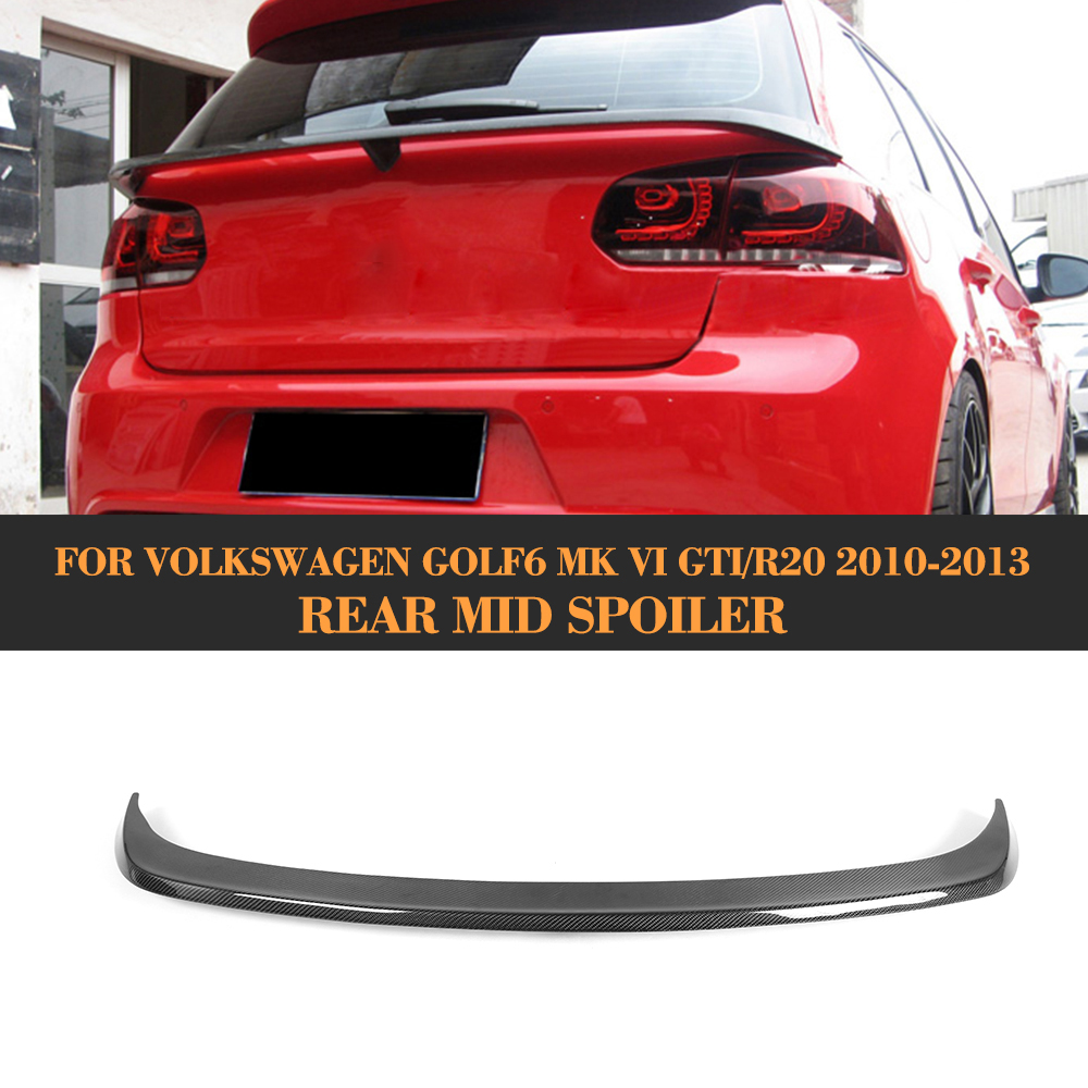Carbon Fiber Rear Trunk Lip Spoiler Auto Car Middle Rear Wing For Volkswagen VW Golf6 MK6 GTI R20 2010 2011 2012 2013 car styling carbon fiber auto rear wing spoiler lip for vw scirocco 2010 2012