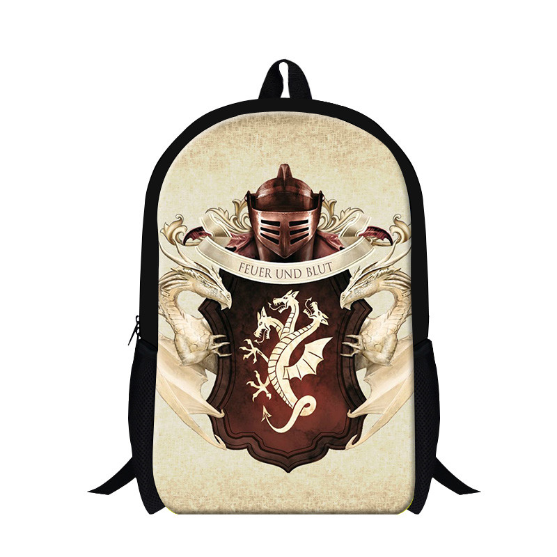 Free shipping trendy school bags for teenager girls,custom kids schoolbag children casual game of thrones dragon cartoon bag