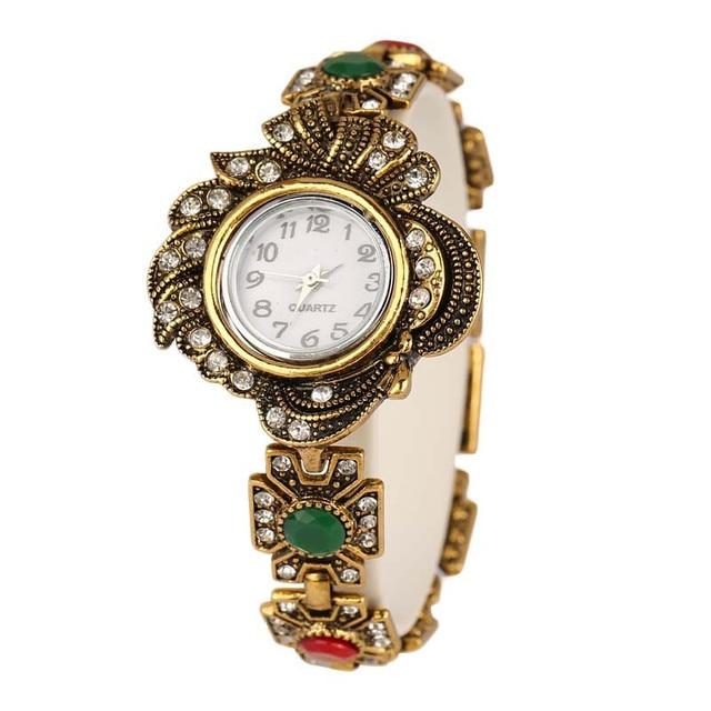 YUSHENG Brand vintage Bronze Luxury Women Dress Watches Girls Quartz Watch Brace