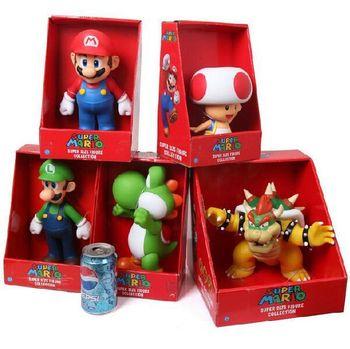 Envío gratis de Super Mario figura con caja de Mario Yoshi Luigi Koopa Bowser sapo juguete figura de acción de PVC muñecas