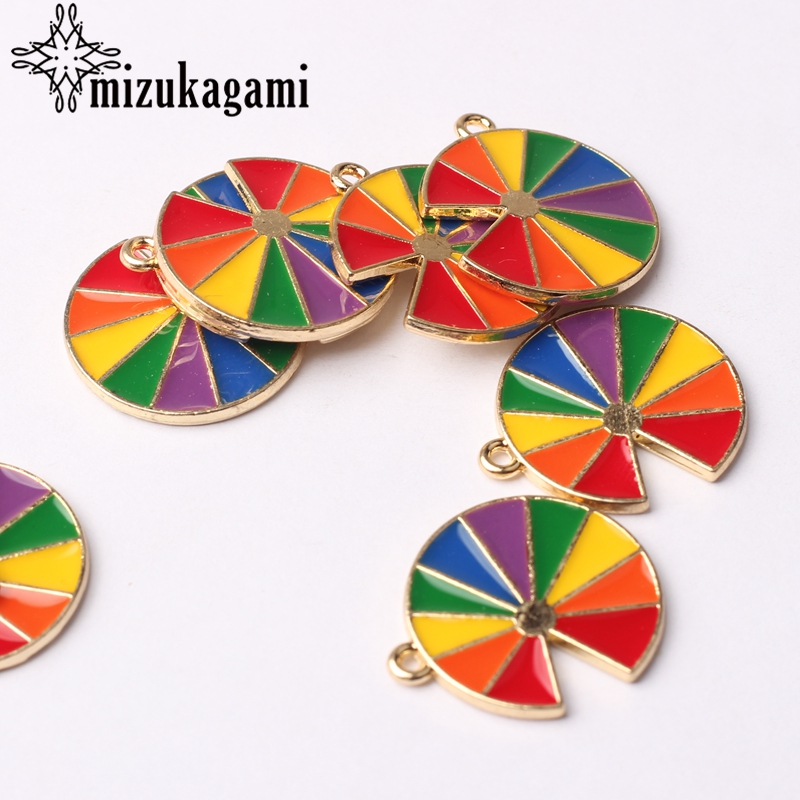 Zinc Alloy Enamel Charms Drop Oil Rainbow Flower 17mm 10pcs/lot For DIY Fashion Jewelry Making Finding Accessories