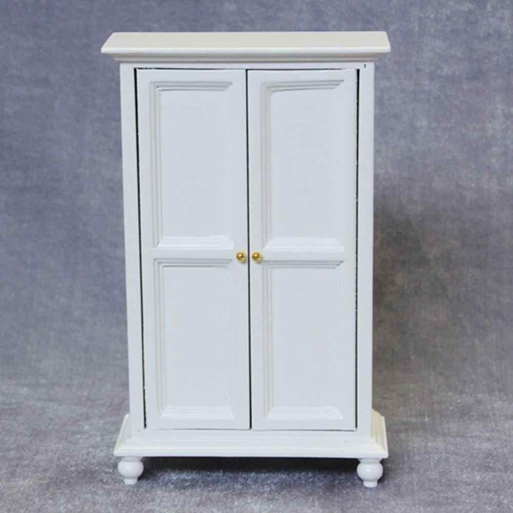 Kitchen Cabin Furniture Kit Model White Gate Door Cabinet Doll House Kitchen Dollhouse Miniatures 1:12 DIY Accessories WWP5070