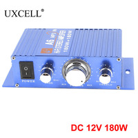 UXCELL DC 12V 180W Car Blue Aluminum Mini Hifi Stereo Audio Power Amplifier