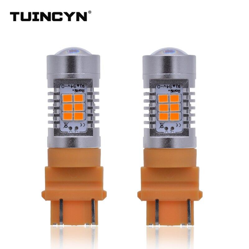 TUINCYN 2pcs LED Signal Light Super Bright 2835 21SMD 80W High Power 12V Lens Turn Signal Back Up Reverse Tail Brake LED Light
