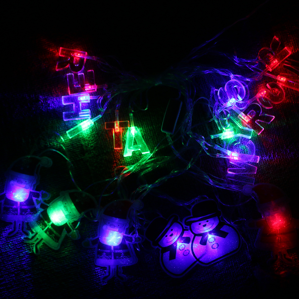 LED Santa Claus Shape String Fairy Light with Merry Christmas Letter-US/EU Plug for Chirstmas Party Event Festival Decor Acces
