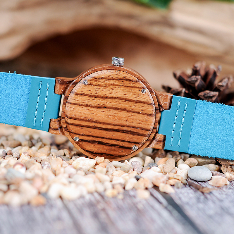BOBO BIRD Lovers Indigo Blue Bamboo Couple Watches