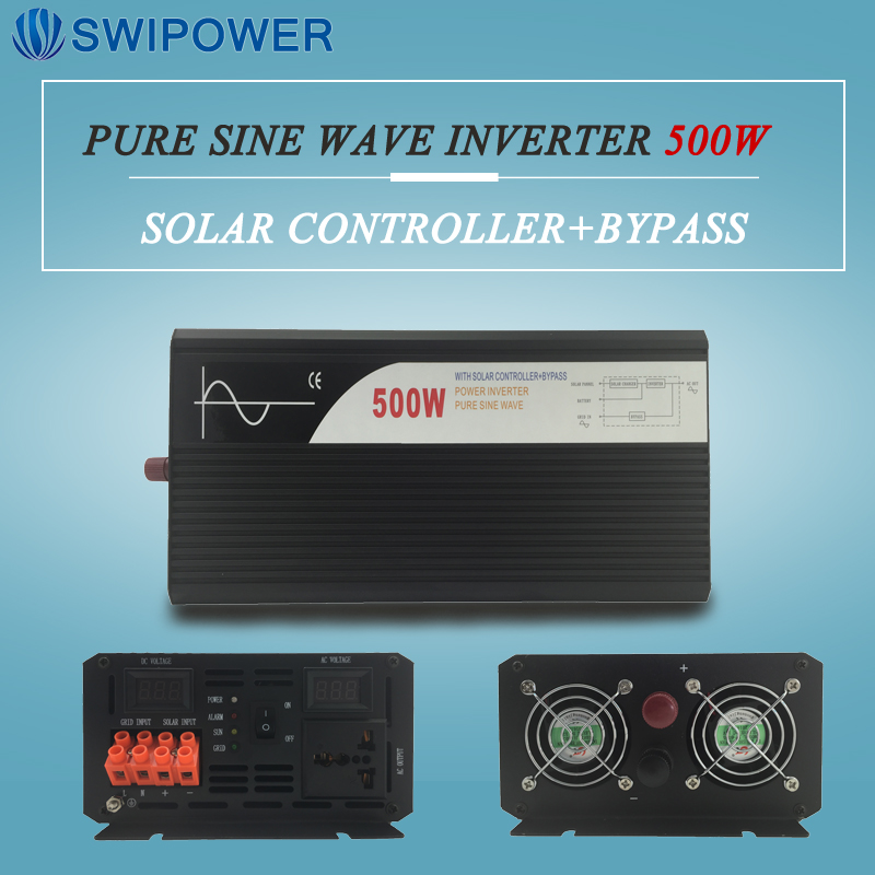 pure sine wave solar power inverter 500w 12V/24V DC to AC 120V/220V with solar controller with bypass