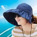 2016 de La Venta Mujeres Sombrero para el Sol Sombreros de Verano Versión De Uv a lo largo de Casquillo de la Playa Plegable Vacía Sólido Ocasional Sombreros Chapeu Feminino