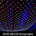 3x2 m 200 LED Net Fada Luz Cordas Do Casamento Do Natal festa Fada Luz Cordas 8 Controlador de Função 220 V Plugue DA UE conector