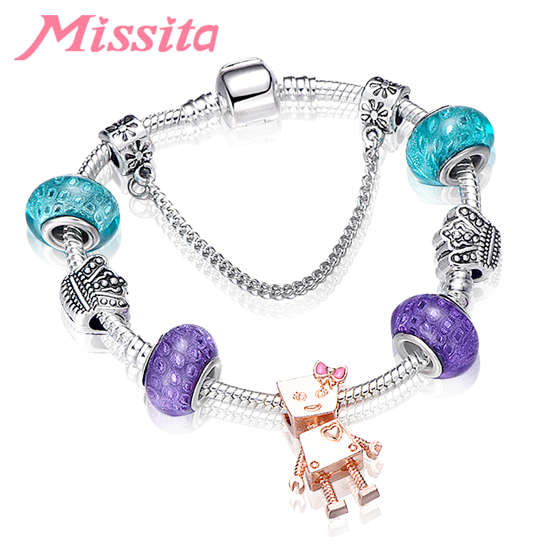 MISSITA Romantic Lovely Bella Robot Charms Bracelet with Blue Purple Murano Beads for Women Brand Anniversary Gift