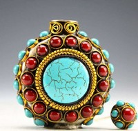 TIBET VINTAGE HANDWORK TURQUOISE CORAL BEADS SNUFF BOTTLE Free Shiping