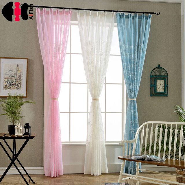 White Curtain Fabric Printed Room Decor Pink Curtains Linen Tulle European Embroidered Voile Blue Bedroom