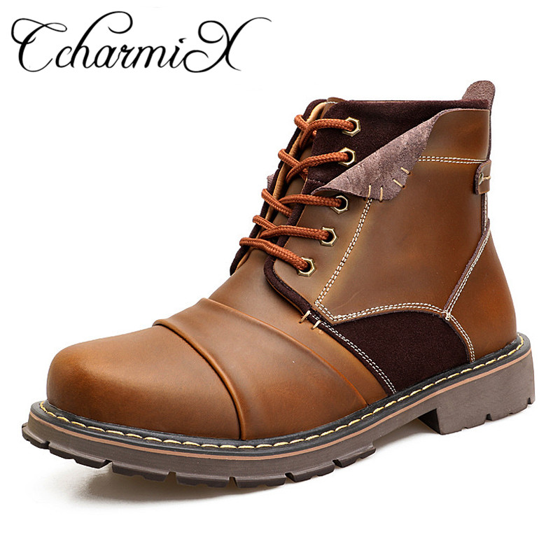 CcharmiX Genuine Leather Mens Boots Waterproof Mens Safety Shoes 2018 Top Quality Vintage Winter Warm Men Work Boots Plus Size free shipping 2017 winter warm dhl brand clothing vintage jackets mens genuine pakistan cow leather biker jacket plus size