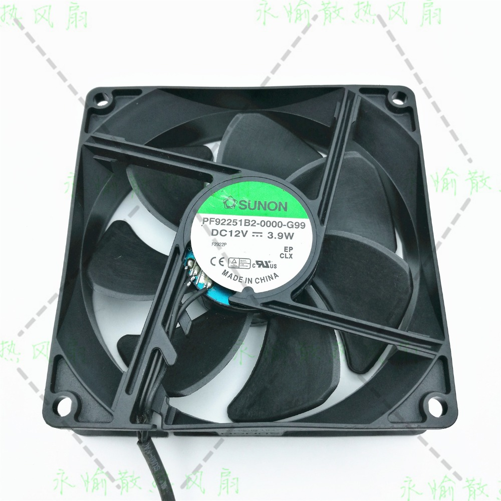SUNON PF92251B2-0000-G99 Server Square Fan DC 12V 3.9W 92x92x25mm 3-wire free shipping for sunon kde2406phs2 dc 24v 1 9w 2 wire 2 pin connector 60x60x15mm server square cooling fan