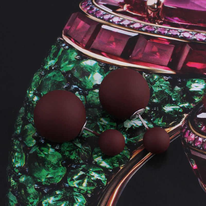 Btubamb novo maxi lados duplos grande bola pérola brincos estilo simples doce cor de borracha do parafuso prisioneiro brincos para mulher acessórios bijoux