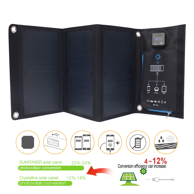 Fansaco 21W Solar Power Bank Dual USB Solar Power Panel Universal For iPhone For Samsung Smart Phone Powerbank Phone Charger new solar panel 30000mah diy waterproof power bank 2 usb solar charger case external battery charger accessories
