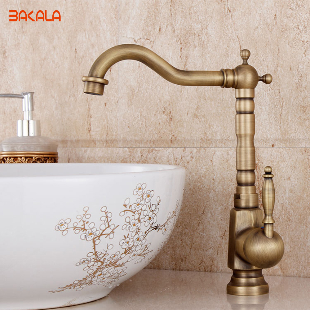 Antique mixer tap kitchen faucet copper hot and cold fashion bathroom faucet basin rotating faucets GZ-8105