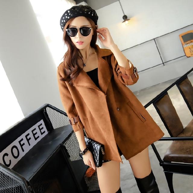 El otoño y el Invierno 2016 Elegante Trench Outwears rompevientos de manga Abrigos Moda Mujer cinturón Prendas de Vestir Exteriores de alta calidad
