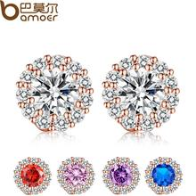 BAMOER Fashion Gold Plated 5 Color Round Crystals Stud Earrings with AAA Zircon Women Jewelry Birthday Gift JIE054